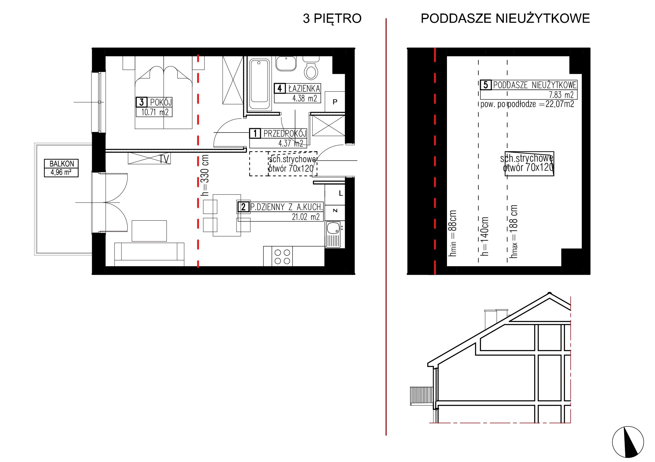 Wojszyckie Alejki / budynek 2 / mieszkanie WA2/B/3/6 rzut 1