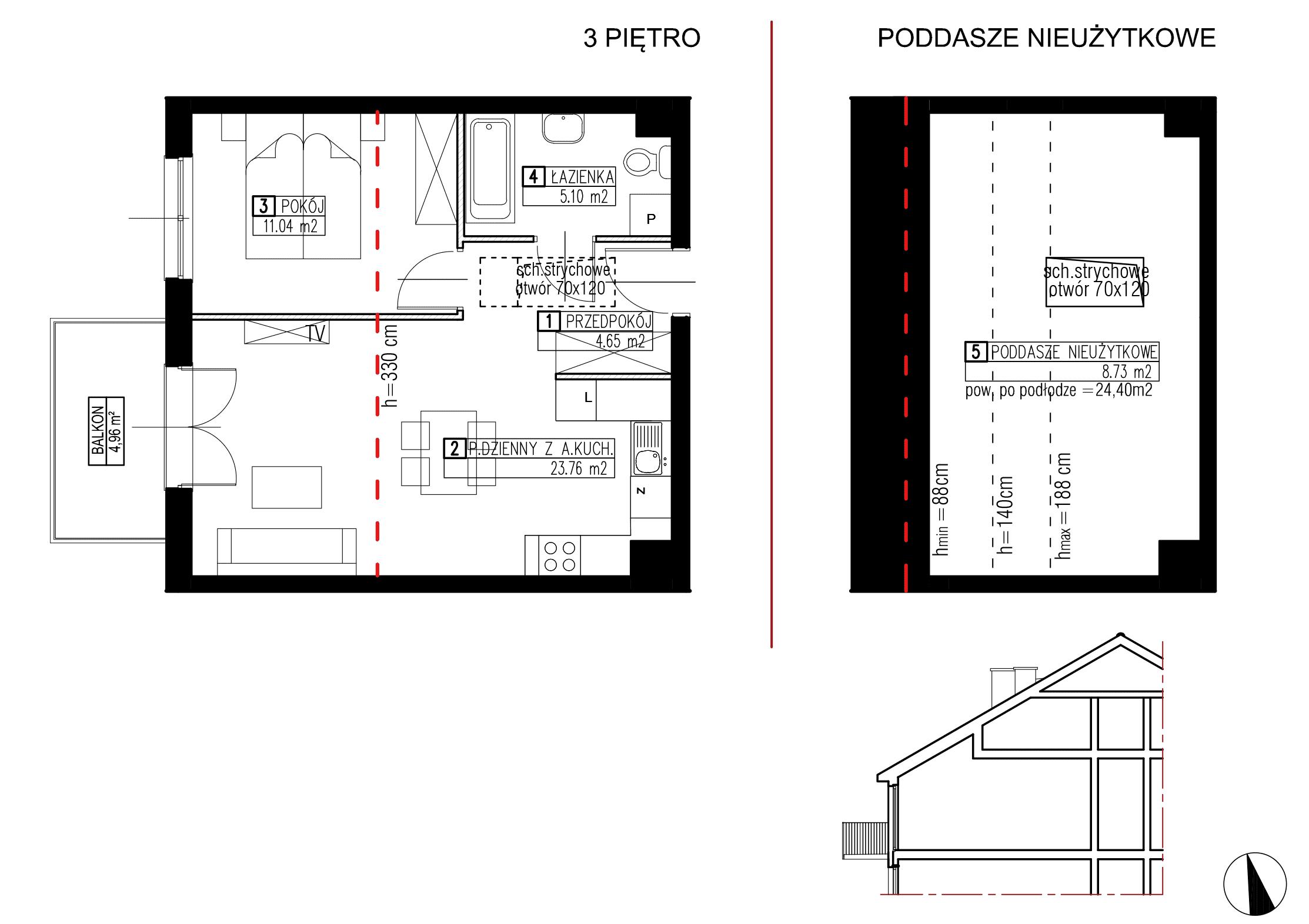 Wojszyckie Alejki / budynek 2 / mieszkanie WA2/B/3/7 rzut 1