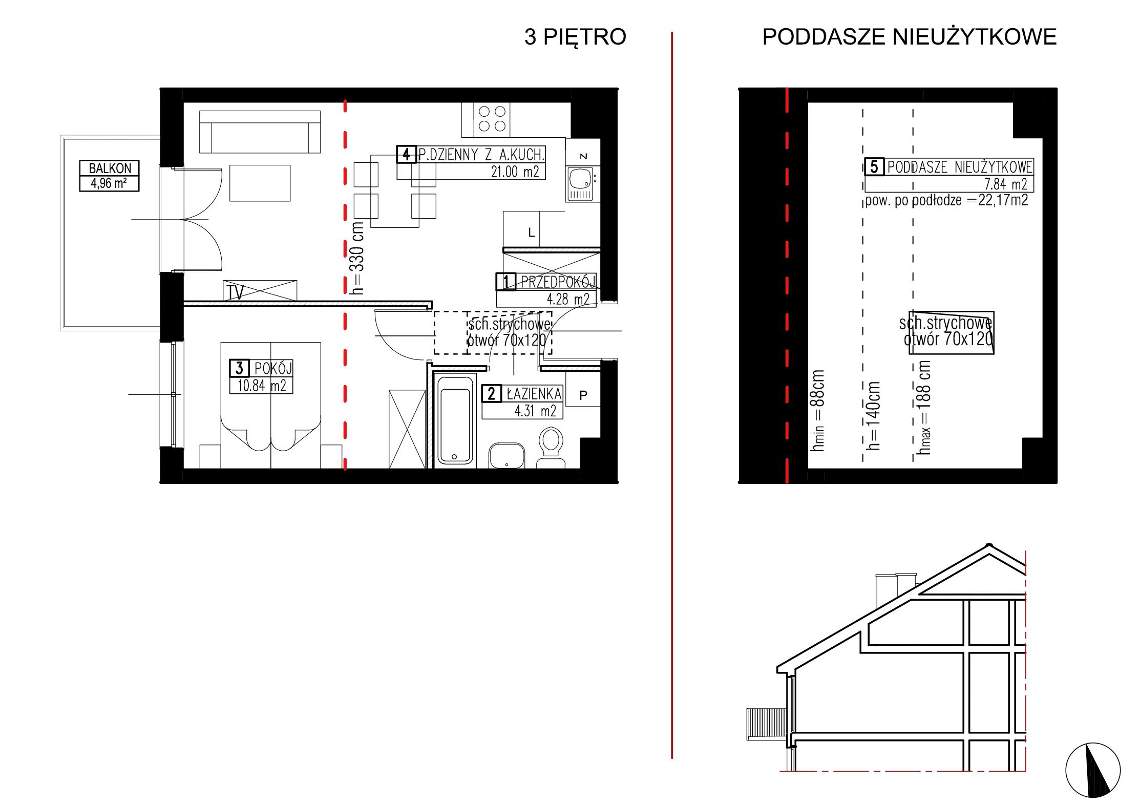 Wojszyckie Alejki / budynek 2 / mieszkanie WA2/B/3/8 rzut 1