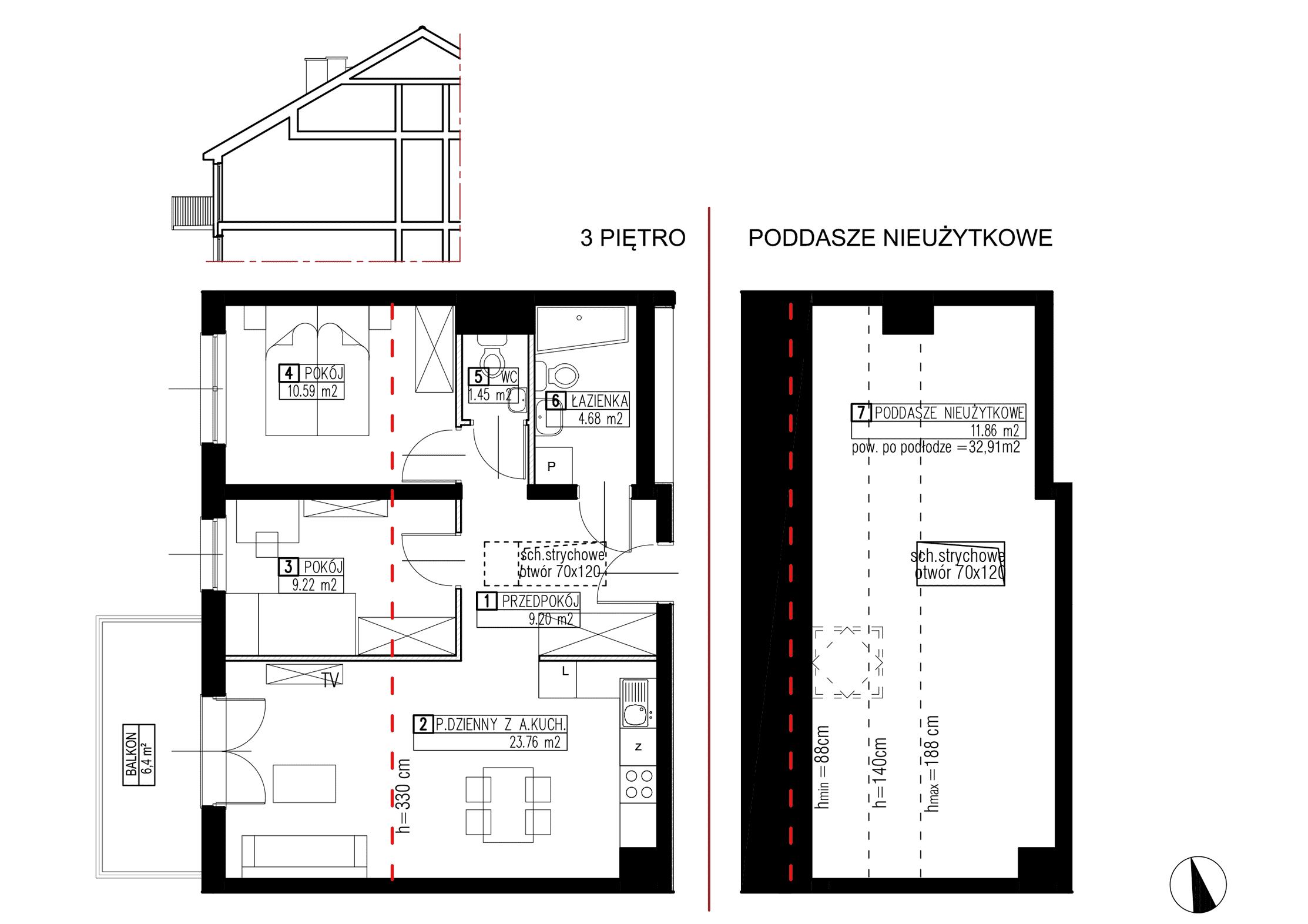 Wojszyckie Alejki / budynek 2 / mieszkanie WA2/B/3/9 rzut 1