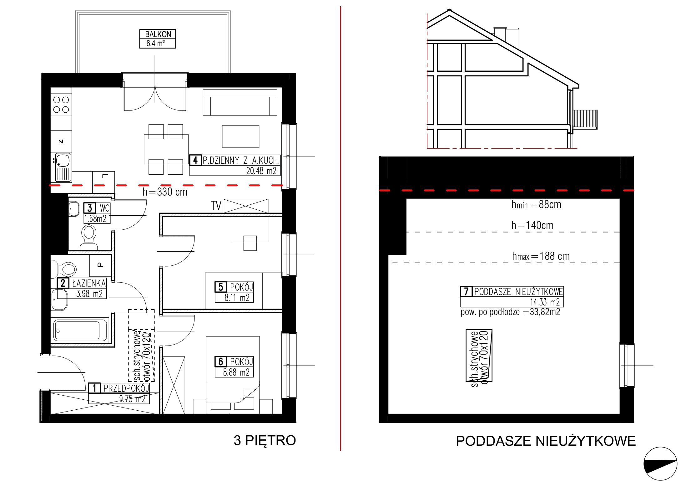 Wojszyckie Alejki / budynek 2 / mieszkanie WA2/B/3/10 rzut 1