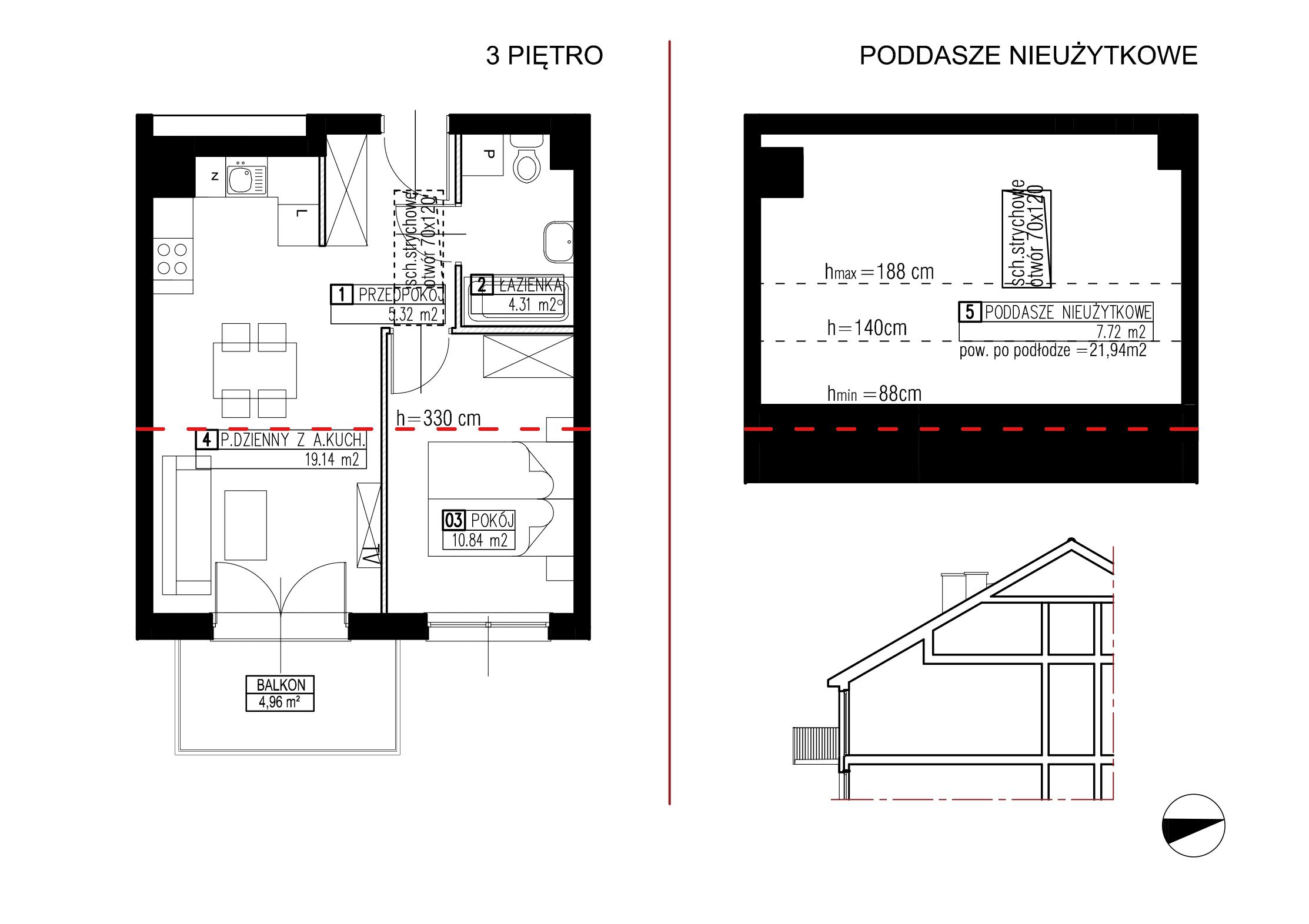 Wojszyckie Alejki / budynek 2 / mieszkanie WA2/B/3/13 rzut 1