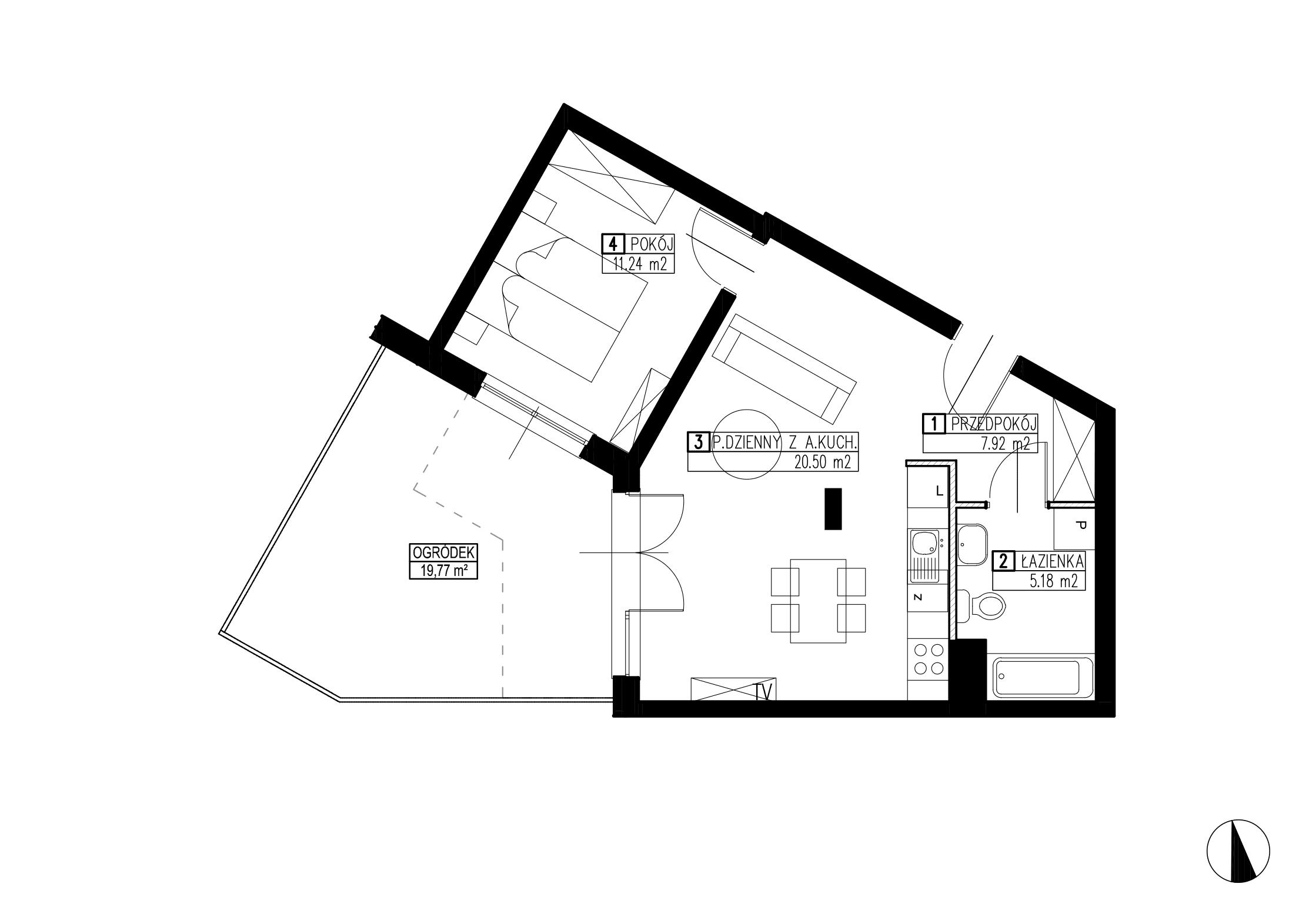 Wojszyckie Alejki / budynek 3 / mieszkanie WA2/C/0/1 rzut 1