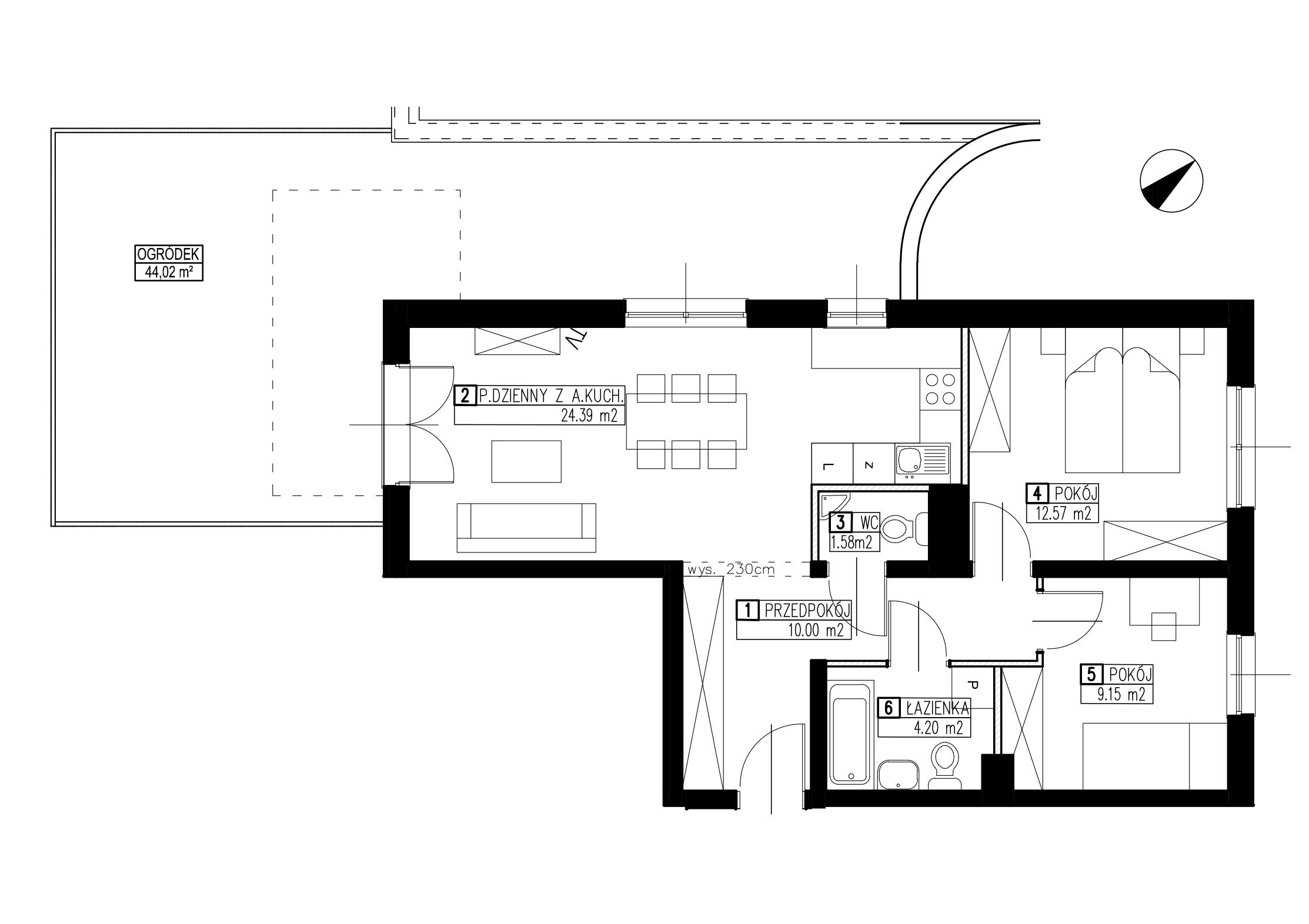 Wojszyckie Alejki / budynek 3 / mieszkanie WA2/C/0/2 rzut 1
