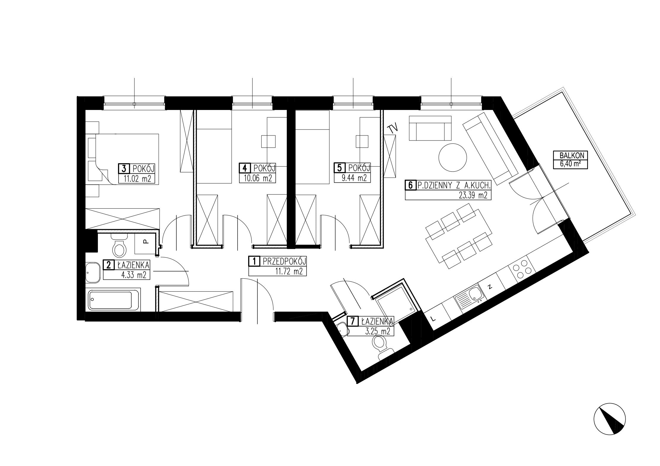 Wojszyckie Alejki / budynek 3 / mieszkanie WA2/C/0/3 rzut 1