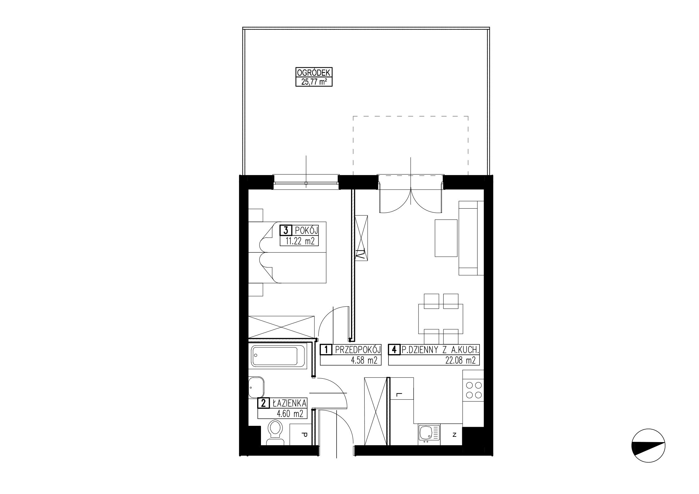 Wojszyckie Alejki / budynek 3 / mieszkanie WA2/C/0/10 rzut 1