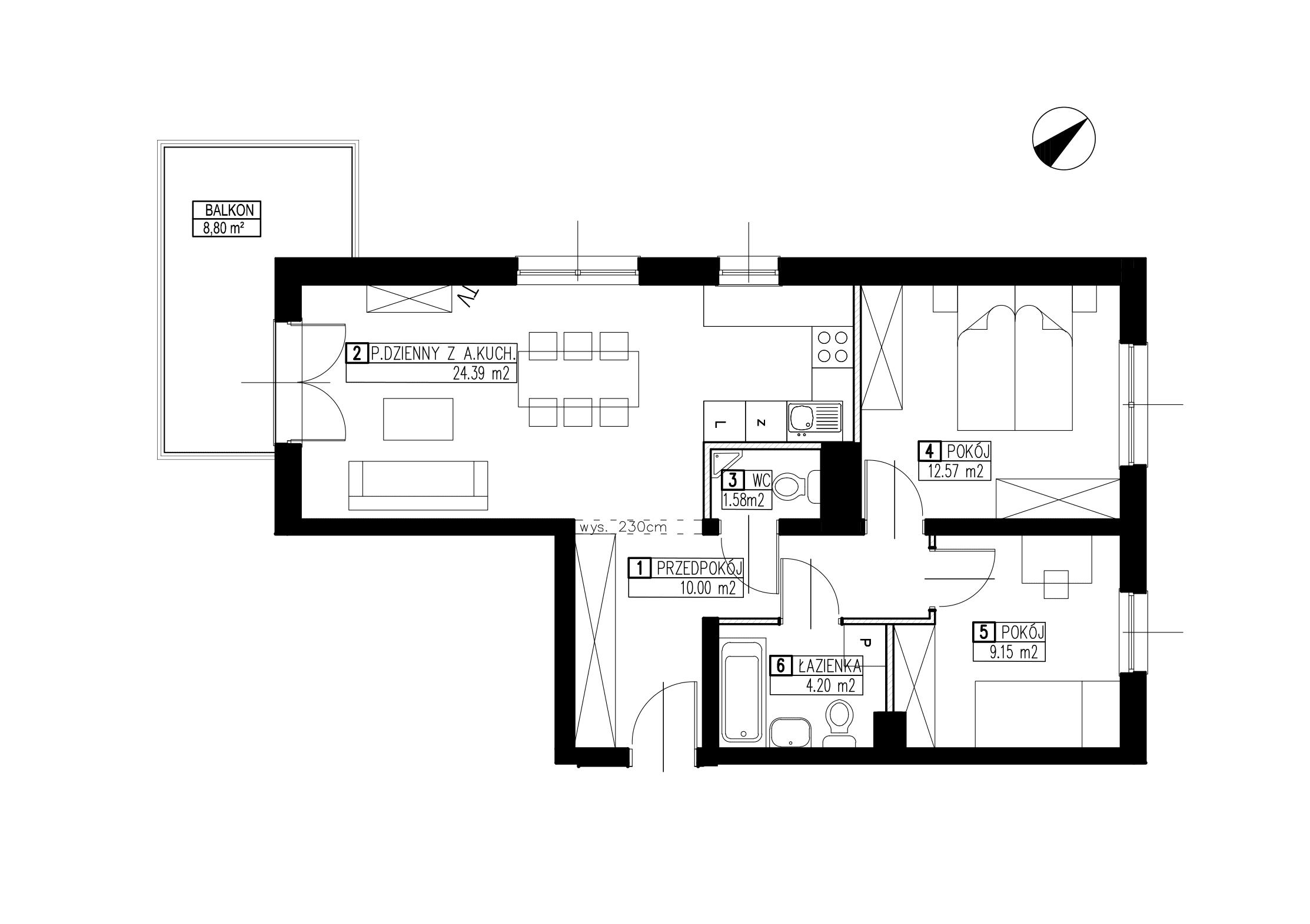 Wojszyckie Alejki / budynek 3 / mieszkanie WA2/C/1/2 rzut 1