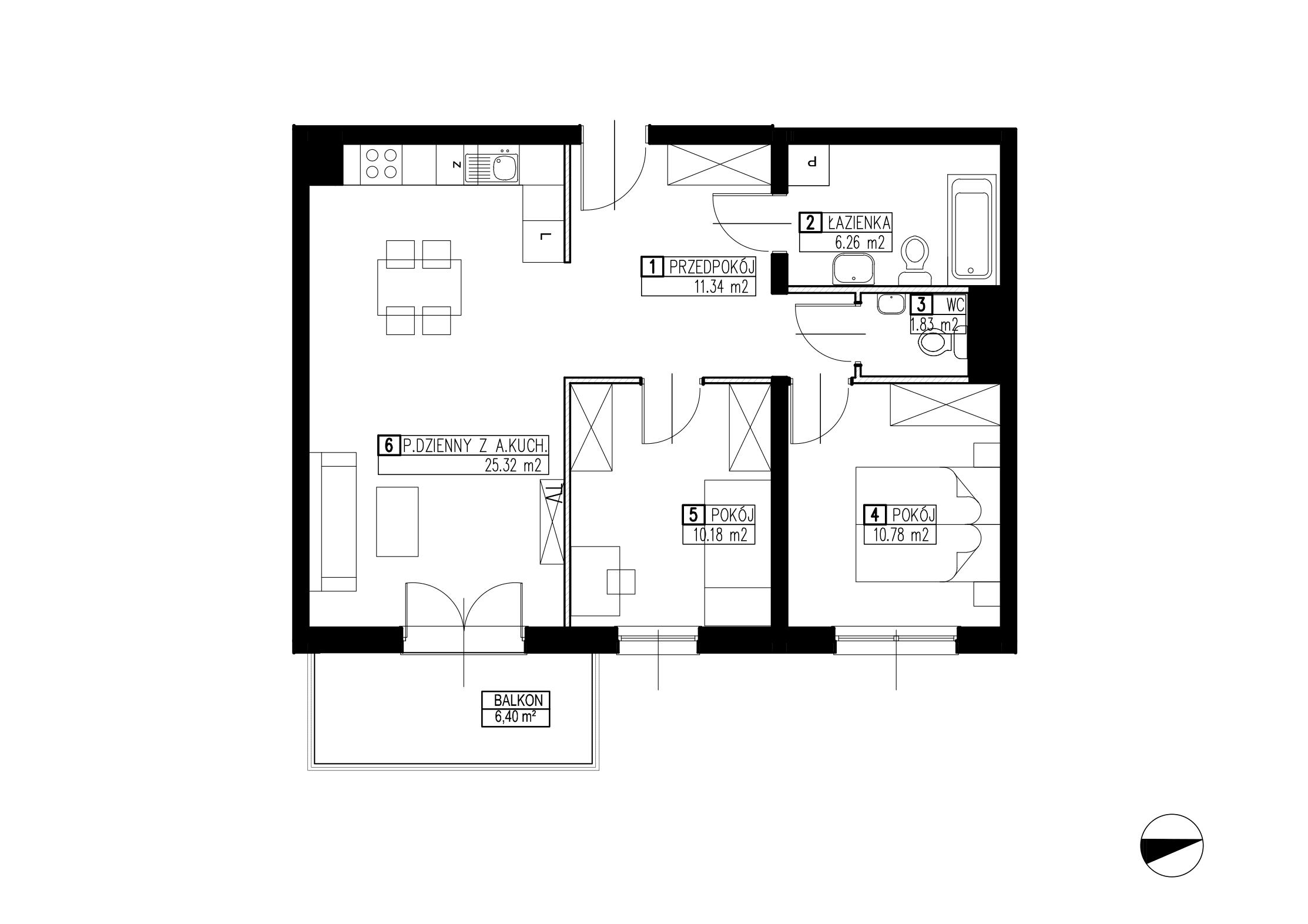 Wojszyckie Alejki / budynek 3 / mieszkanie WA2/C/1/4 rzut 1