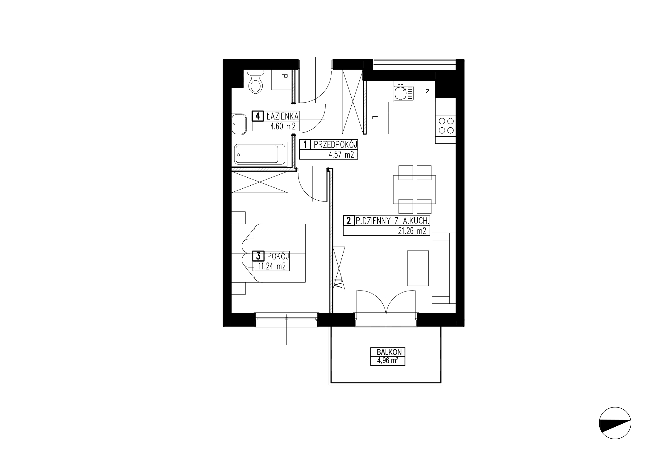 Wojszyckie Alejki / budynek 3 / mieszkanie WA2/C/1/6 rzut 1