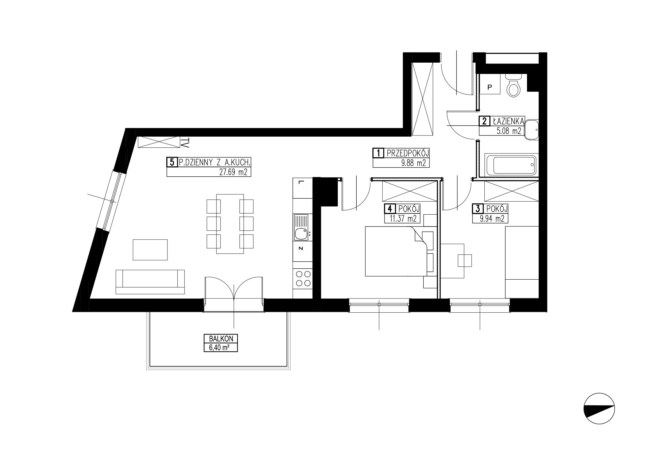 Wojszyckie Alejki / budynek 3 / mieszkanie WA2/C/1/7 rzut 1
