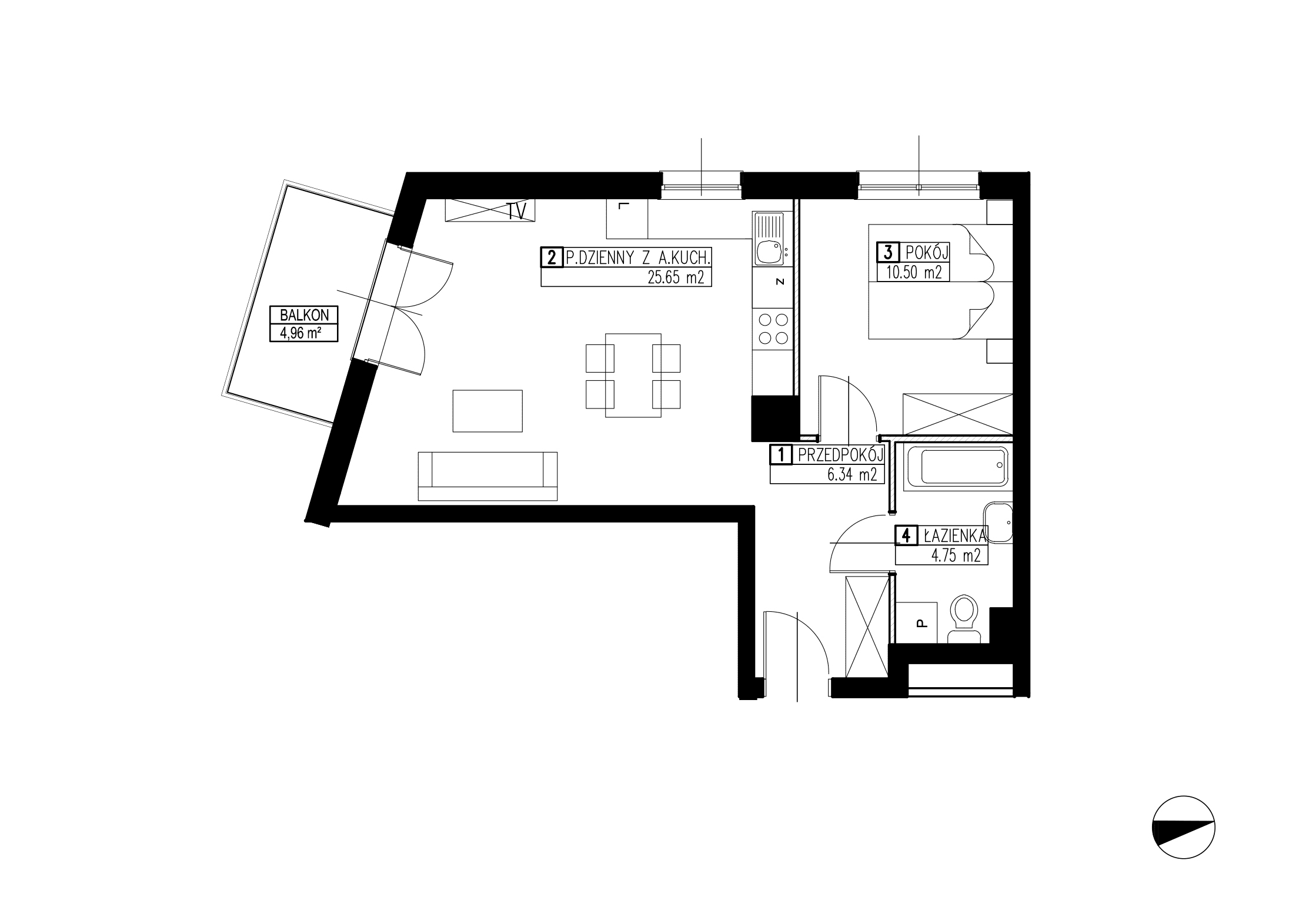 Wojszyckie Alejki / budynek 3 / mieszkanie WA2/C/1/9 rzut 1