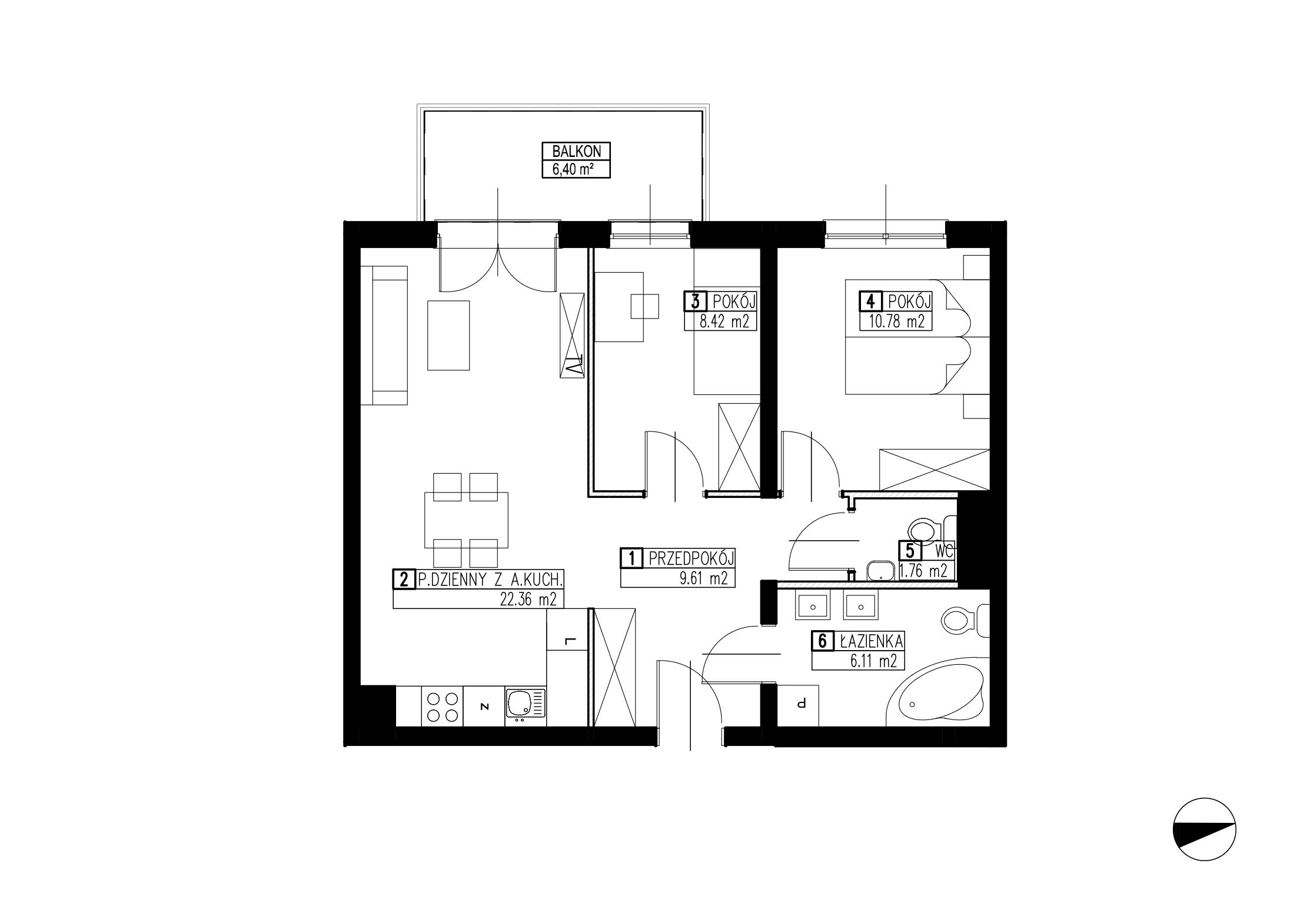 Wojszyckie Alejki / budynek 3 / mieszkanie WA2/C/1/11 rzut 1