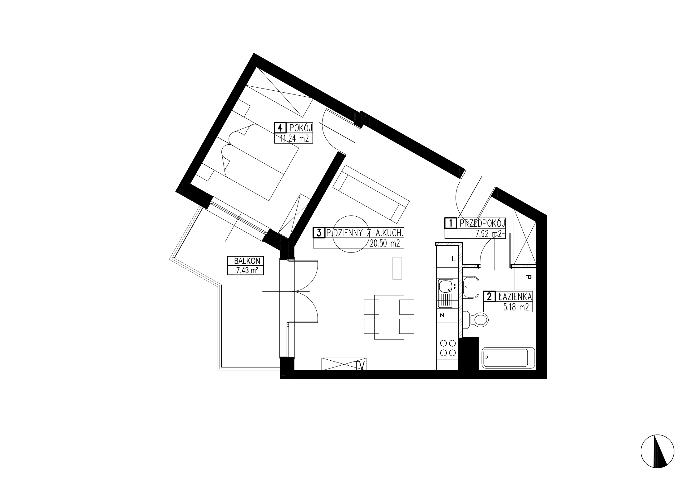 Wojszyckie Alejki / budynek 3 / mieszkanie WA2/C/2/1 rzut 1