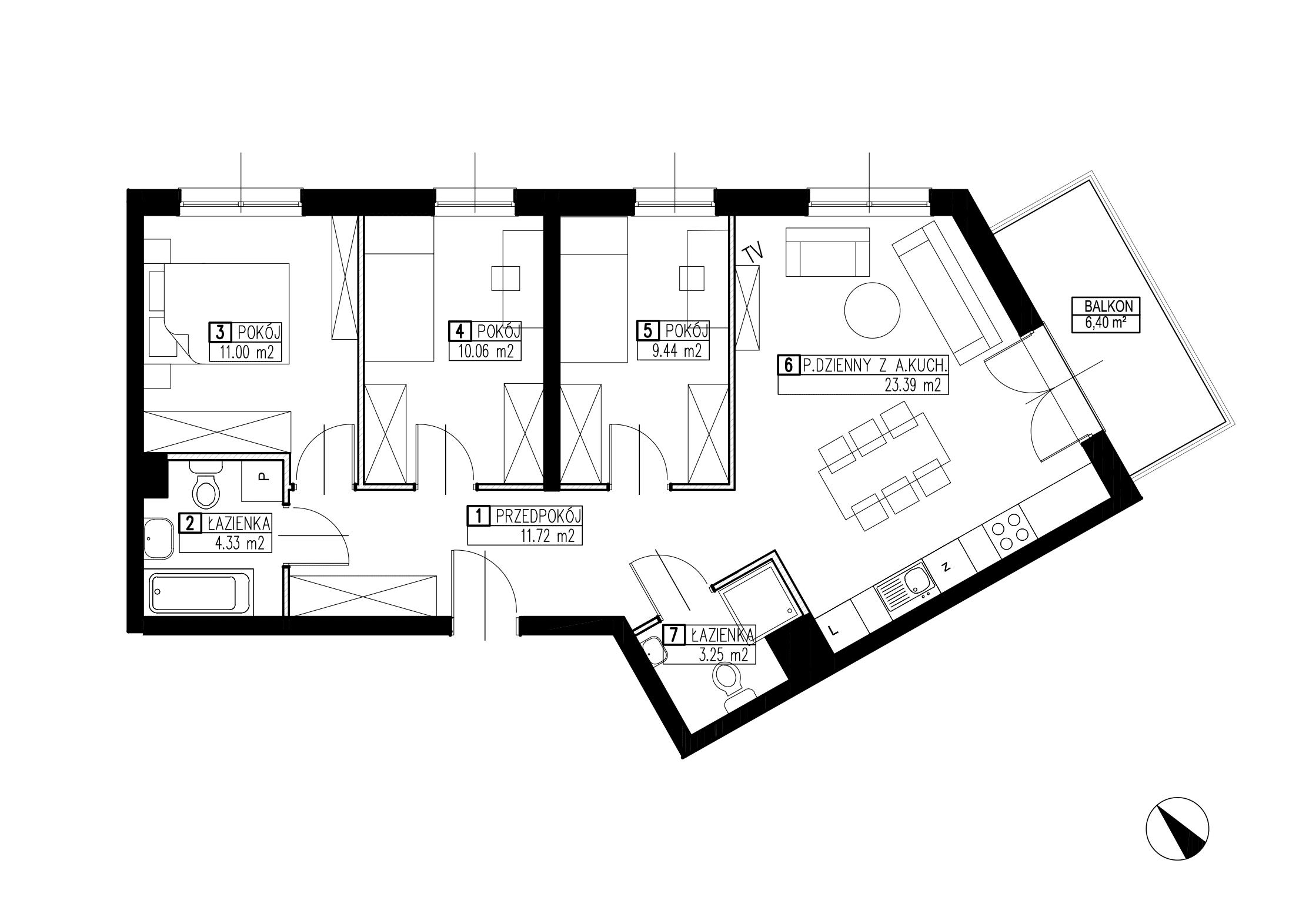 Wojszyckie Alejki / budynek 3 / mieszkanie WA2/C/2/3 rzut 1