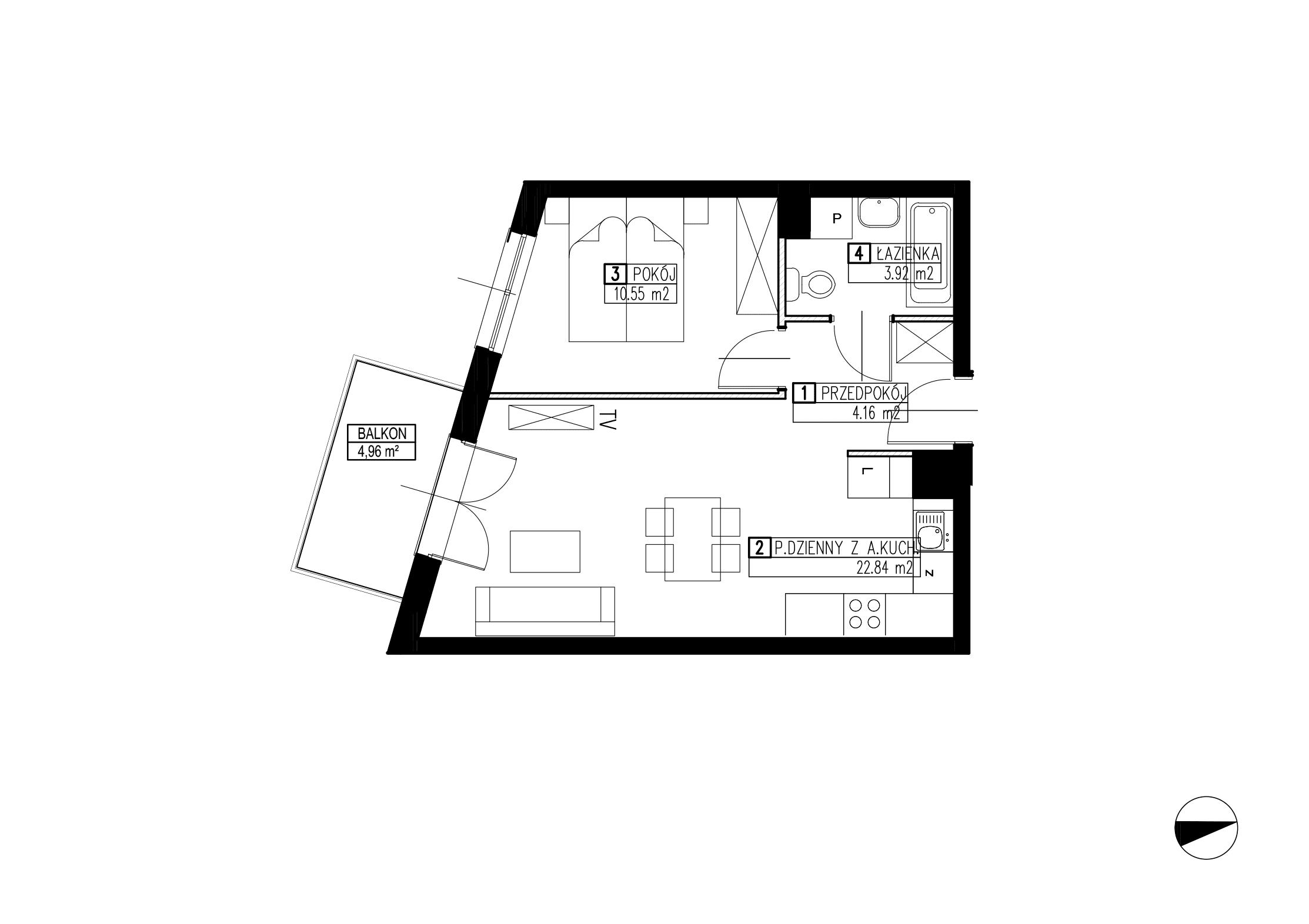 Wojszyckie Alejki / budynek 3 / mieszkanie WA2/C/2/8 rzut 1