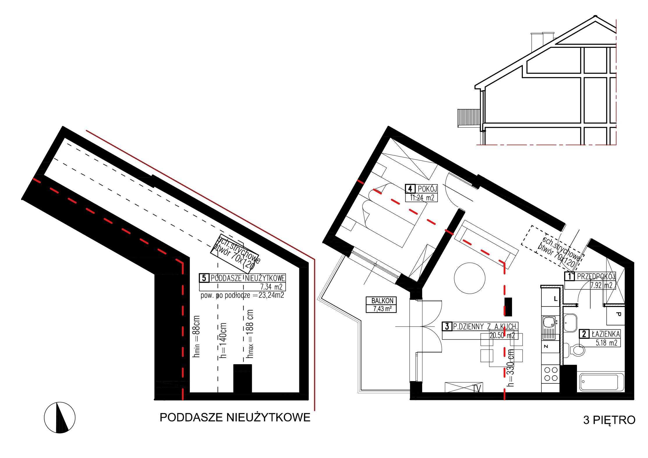 Wojszyckie Alejki / budynek 3 / mieszkanie WA2/C/3/1 rzut 1