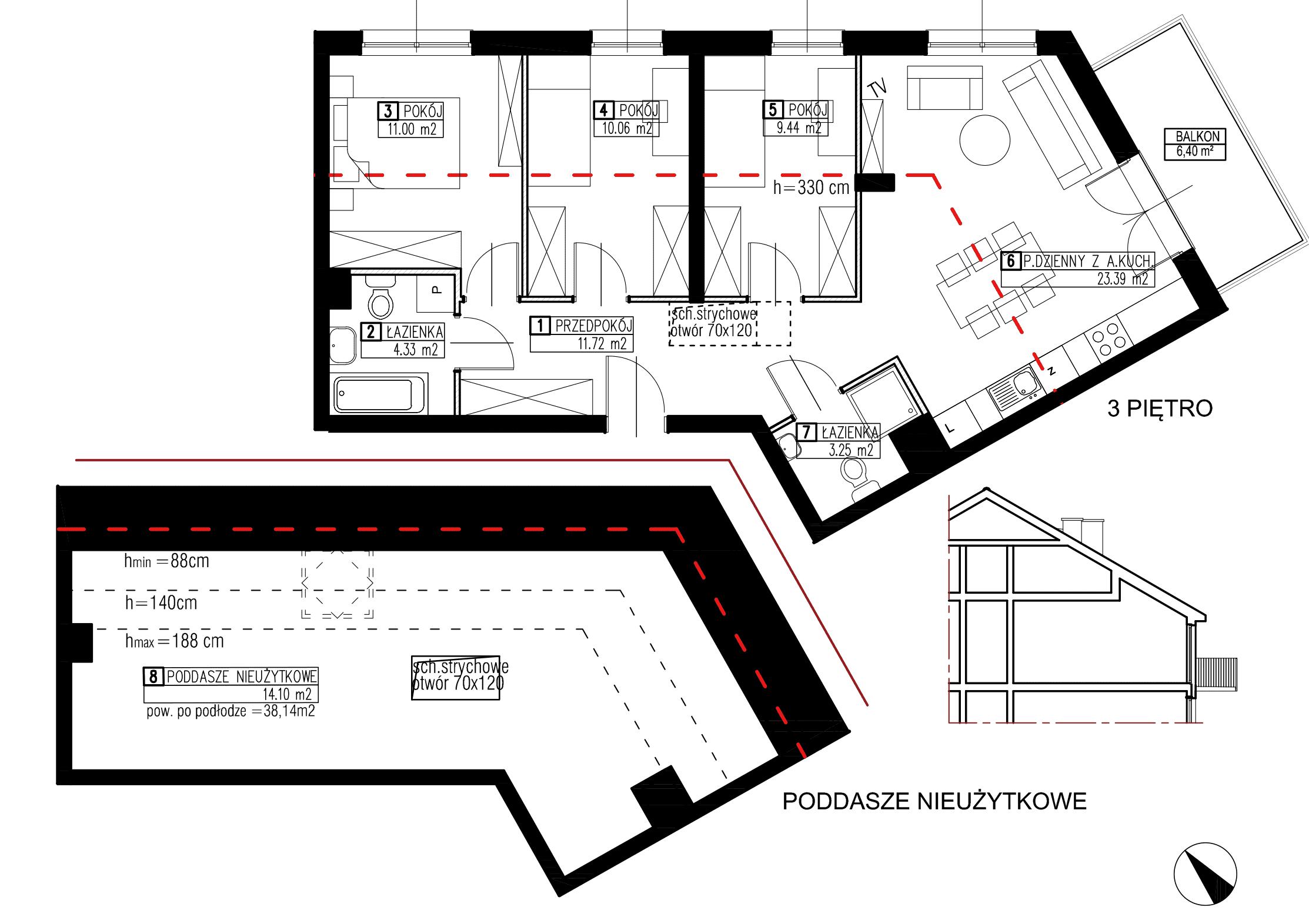Wojszyckie Alejki / budynek 3 / mieszkanie WA2/C/3/3 rzut 1
