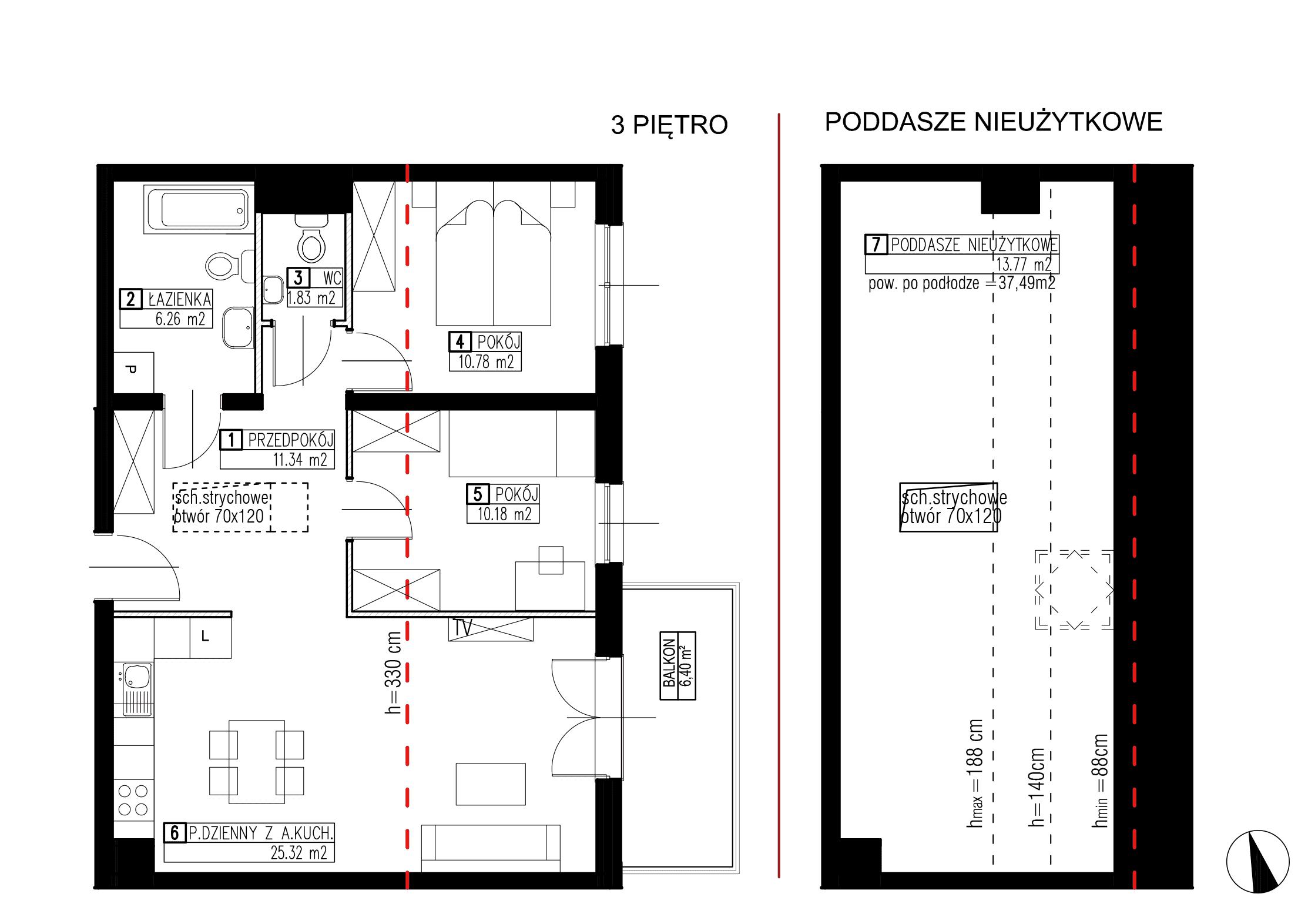 Wojszyckie Alejki / budynek 3 / mieszkanie WA2/C/3/4 rzut 1
