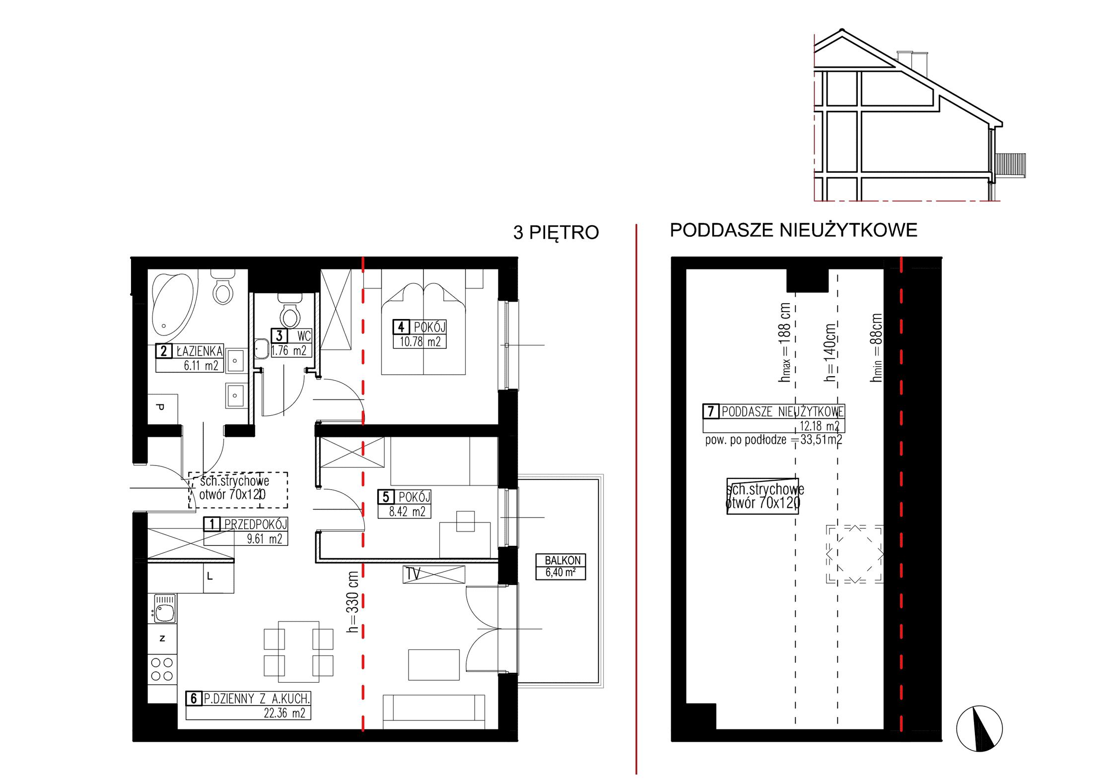 Wojszyckie Alejki / budynek 3 / mieszkanie WA2/C/3/5 rzut 1