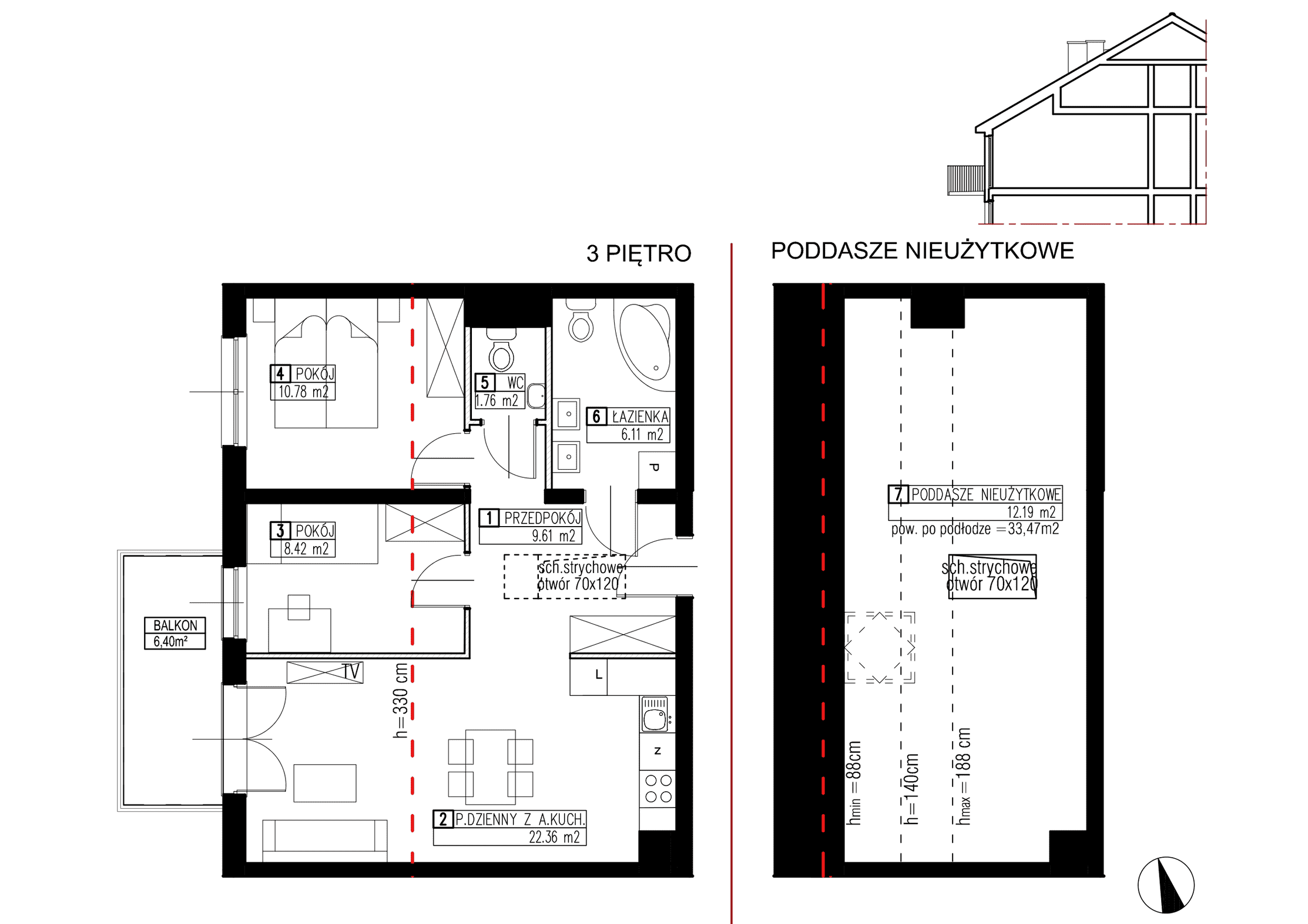 Wojszyckie Alejki / budynek 3 / mieszkanie WA2/C/3/10 rzut 1