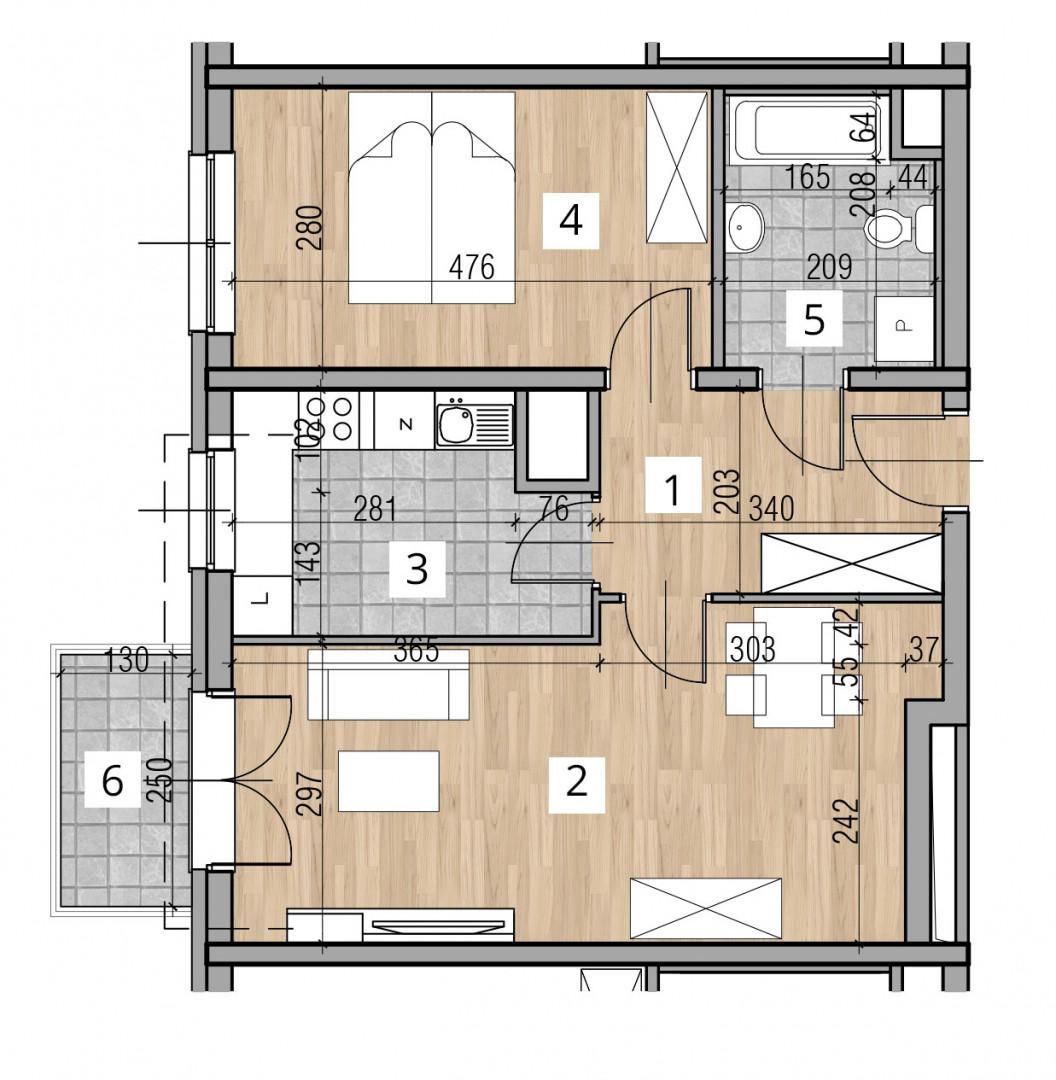 Uroczysko I / budynek 2 / klatka C / mieszkanie C/18/M2 rzut 1